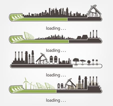 set Icoon downloaden van molens en fabrieken tegen hernieuwbare energie Stock Illustratie