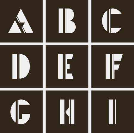 abstract letters: abstract alphabet. Letters of geometric shapes and lines