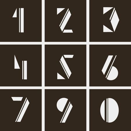 numerals: abstract numerals. numbers of geometric shapes and lines