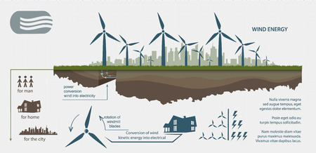 Renewable energy from wind turbines illustrated infographics Vectores