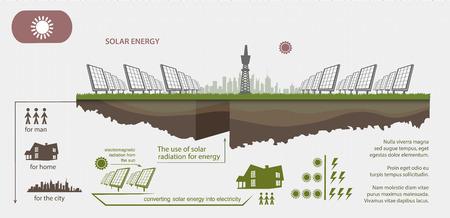 energías renovables: La energía renovable a partir de energía solar se ilustra infografía Vectores