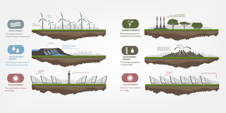 city background: renewable energy in the illustrated examples of infographics with icons