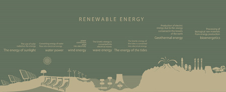 viewfinderchallenge3: illustration of all kinds of renewable energy on the planet. the concept of ecology