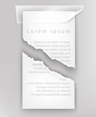 white paper: torn paper for text, ripped sheet with adhesive tape