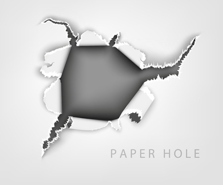 paper roll: torn paper. hole in the notebook sheet in a cage