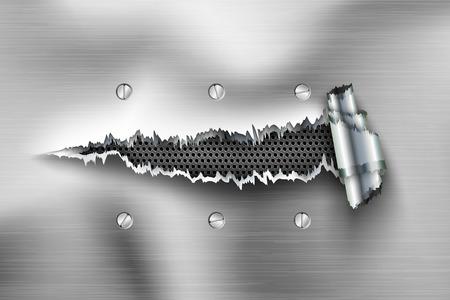 blatt: zerrissenen Stahlblech. Loch in der Metall mit Bolzen