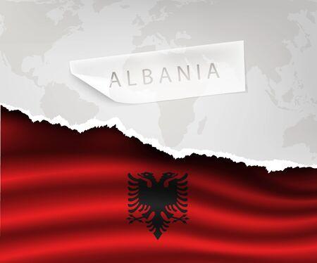 albanie: papier d�chir� avec trou et les ombres Albanie drapeau