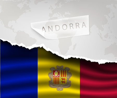 andorra: torn paper with hole and shadows andorra flag