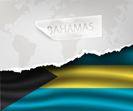 bahamas celebration: torn paper with hole and shadows Bahamas flag