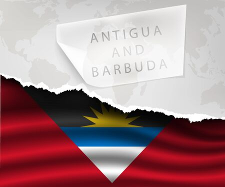 antigua: torn paper with hole and shadows antigua and barbuda flag