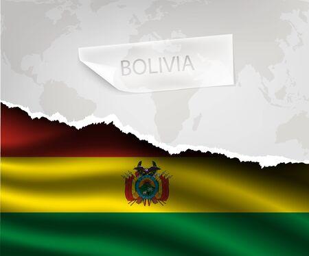 bandera de bolivia: papel rasgado con el agujero y sombras bandera BOLIVIA Vectores