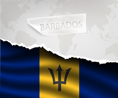 barbados: torn paper with hole and shadows BARBADOS flag