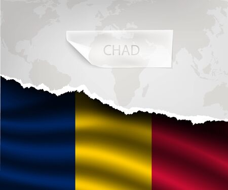 chad flag: torn paper with hole and shadows CHAD flag Illustration