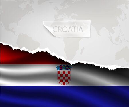bandera de croacia: papel rasgado con el agujero y sombras bandera CROACIA Vectores