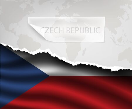 czech: torn paper with hole and shadows CZECH REPUBLIC flag