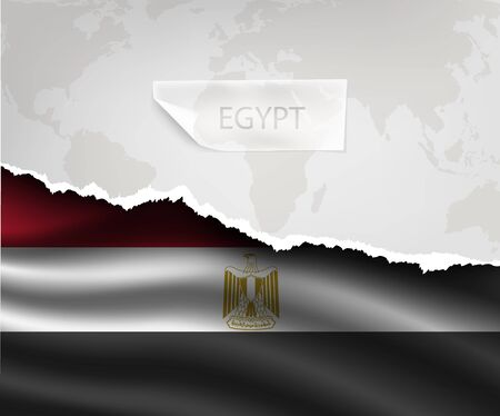 egypt flag: torn paper with hole and shadows EGYPT flag