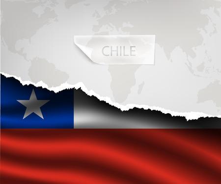 bandera de chile: papel rasgado con el agujero y sombras bandera CHILE Vectores