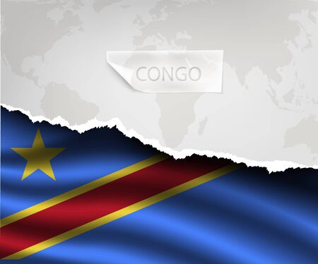 republic of the congo: torn paper with hole and shadows CONGO flag Illustration