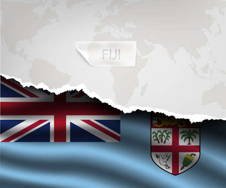 fiji: torn paper with hole and shadows FIJI flag Stock Illustratie