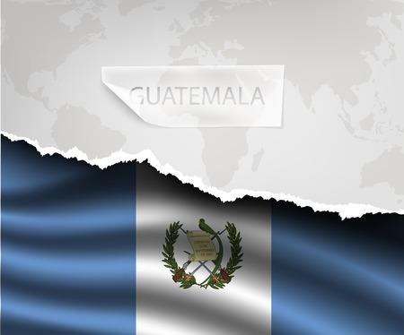 bandera de guatemala: papel rasgado con el agujero y sombras bandera GUATEMALA