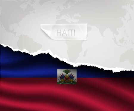 haiti: torn paper with hole and shadows HAITI flag Illustration