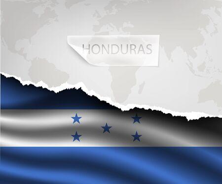 bandera honduras: papel rasgado con el agujero y sombras HONDURAS flag