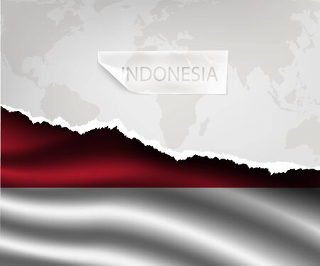 italia: torn paper with hole and shadows INDONESIA flag Illustration