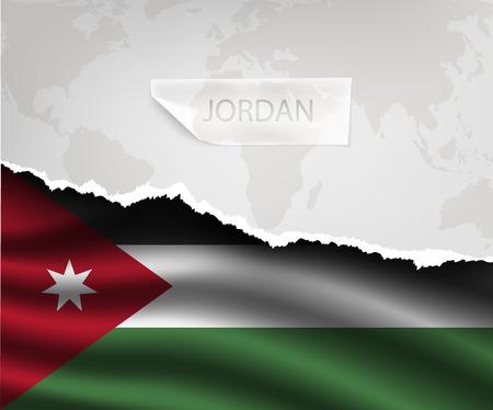 jordanian: gescheurd papier met gat en schaduwen JORDAN vlag