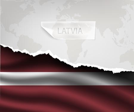 latvia flag: torn paper with hole and shadows LATVIA flag Illustration