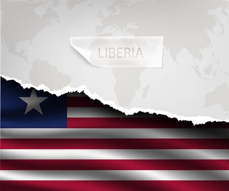 liberia: torn paper with hole and shadows LIBERIA flag Illustration
