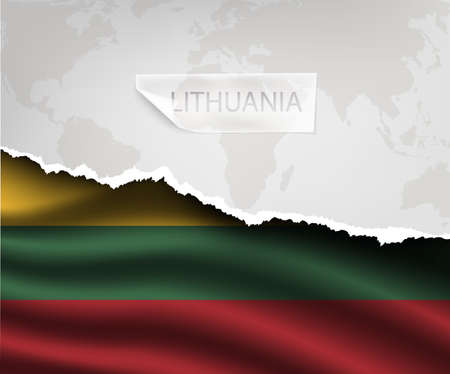 lithuania flag: torn paper with hole and shadows LITHUANIA flag