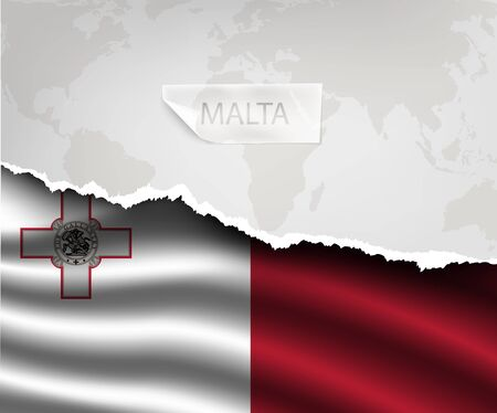 maltese map: torn paper with hole and shadows MALTA flag Illustration