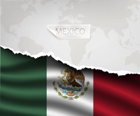 mexico flag: torn paper with hole and shadows MEXICO flag