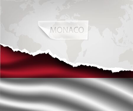 national flag indonesian flag: torn paper with hole and shadows MONACO flag