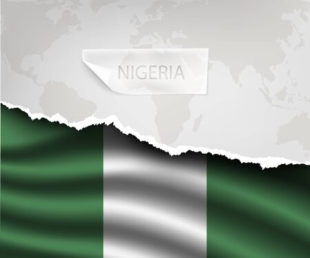 nigeria: torn paper with hole and shadows NIGERIA flag