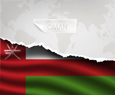 muscat: torn paper with hole and shadows OMAN flag