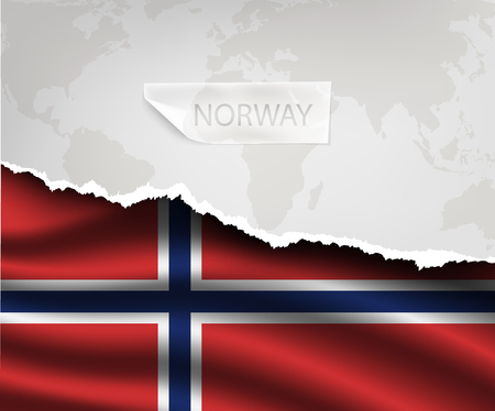 europa: torn paper with hole and shadows NORWAY flag