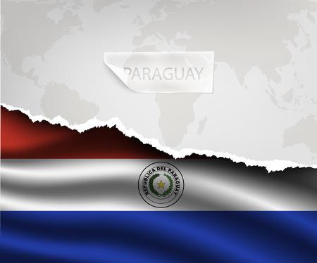 bandera de paraguay: papel rasgado con el agujero y sombras bandera PARAGUAY