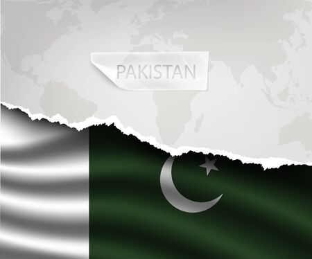 islamabad: torn paper with hole and shadows PAKISTAN flag Illustration