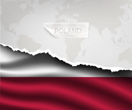 poland flag: torn paper with hole and shadows POLAND flag