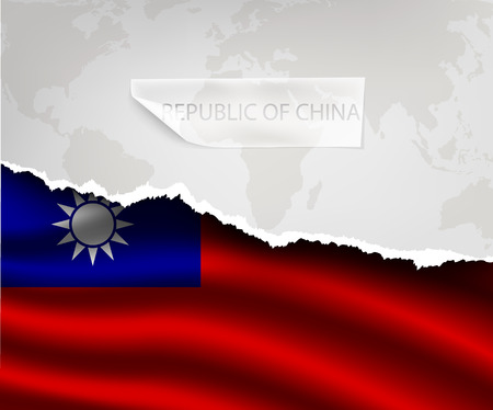 the republic of china: torn paper with hole and shadows REPUBLIC OF CHINA flag