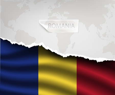 romania flag: torn paper with hole and shadows ROMANIA flag Illustration