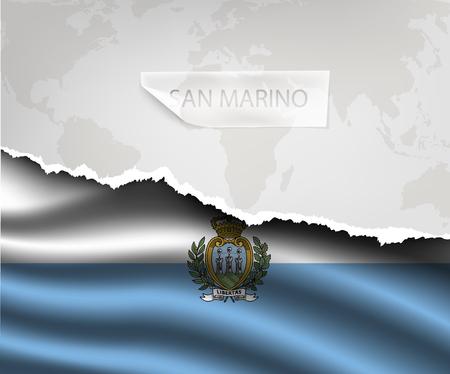 marino: torn paper with hole and shadows SAN MARINO flag
