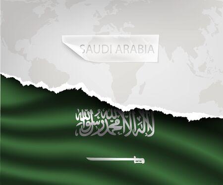 arabia: torn paper with hole and shadows SAUDI ARABIA flag