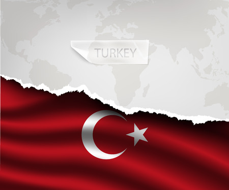 turkish flag: torn paper with hole and shadows TURKEY flag Illustration