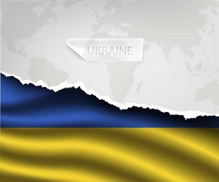 ukraine flag: torn paper with hole and shadows UKRAINE flag