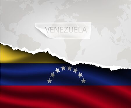 patriotic border: torn paper with hole and shadows VENEZUELA flag Illustration