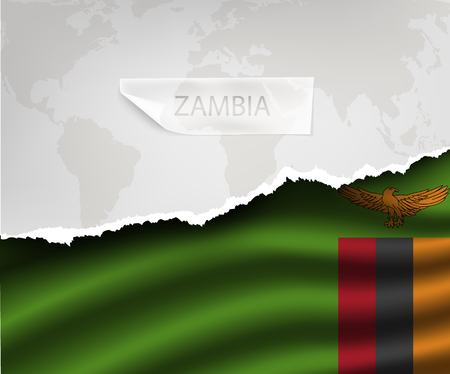 zambia flag: torn paper with hole and shadows ZAMBIA flag