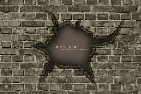 brownstone: hole in the brick wall with shadows and text Illustration