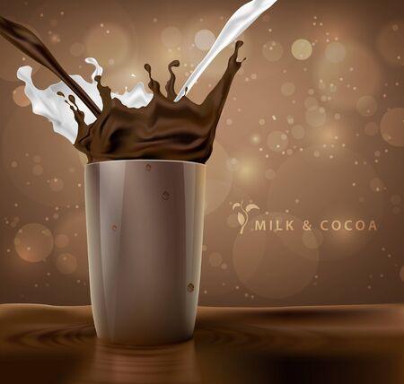 mleka: plamy mleka z kakao i czekolady tle z filiżanką kawy